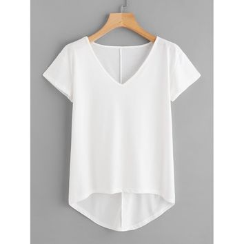 Solid Dip Hem T-shirt White
