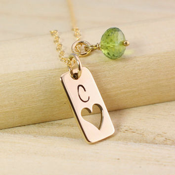 Personalized Gold Tag Necklace with Heart Cutout - Gold Initial Necklace - Gemstone Birthstone Necklace - Vertical Gold Bar Necklace