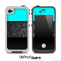 Three-Toned Turquoise Black Floral Laced V2 Skin for the iPhone 5 or 4/4s LifeProof Case