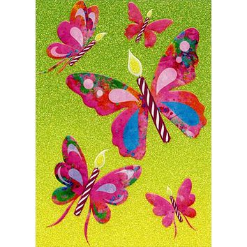 Birthday Greeting Card  - Butterfly Birthday Candles