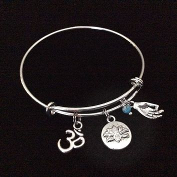 Turquoise Lotus Om Meditation Charm Bracelet Adjustable Expandable Silver Wire Bangle Trendy Yoga Inspired Meaningful Inspirational