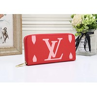 LV Louis Vuitton Newest Hot Sale Women Fashion Leather Zipper Wallet Purse Red