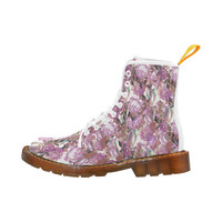 Vintage Pink Romantic Flowers Martin Boots For Women Model 1203H | ID: D1279066