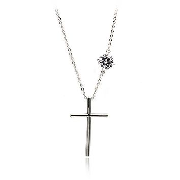 simple flow cross crystal necklace