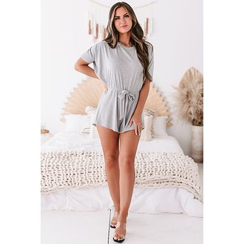Always Lounging Ribbed Short Sleeve Romper (Heather Grey)