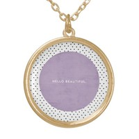 Hello Beautiful - Lavender and dots Round Pendant Necklace