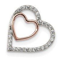Sterling Silver Rhodium and Rose-tone w/CZ Heart Chain Slide QP4913