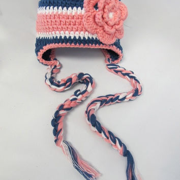 Blue and Pink Crochet Baby Hat, Black and Pink Crochet Hat, baby hat, Crochet hat, baby crochet hat, beanie hat