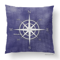Compass rose decorative pillow in distressed vintage navy blue