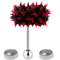 Red-Black THRASHER LIX Vibrating Tongue Ring | Body Candy Body Jewelry