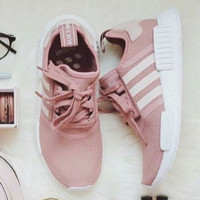 Adidas NMD Runner Pink and white couples running shoes