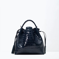 Crocodile leather bucket bag