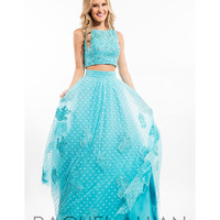 Preorder - Rachel Allan 7113 Turquoise Blue Lace Two Piece Long Gown 2016 Prom Dresses