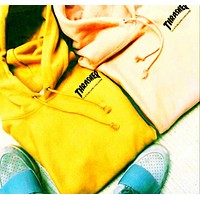 Fashion Flame Hooded Top Sweater Pullover Hoodie Yellow