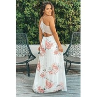 Ivory and Peach Floral Maxi Dress With Lace Back