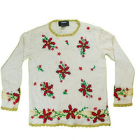 Beaded Flowers Ugly Christmas Sweater | ugly sweater