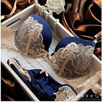 Women Lace Embroidery Bra And Lace Trim Panties Set
