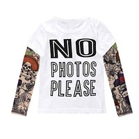 Summer t-shirt cotton boys clothes casual baby children clothing tattoo print long sleeve t shirts toddler kids top tees