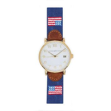American Flag Needlepoint Watch by Smathers & Branson