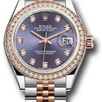 Rolex - Datejust Lady 28 - Stainless Steel and Everose Gold - Diamond Bezel
