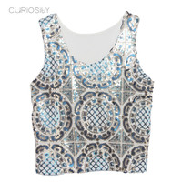 Vintage Sunflower Sequin Top With Transparent Mesh Back U Neck Contrast Color Small Sequin Tank Crop Top Blusas Feminino