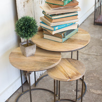 Set Of 3 Nesting Iron Accent Tables With Mango Wood Tops