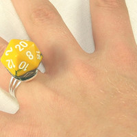 Geek Mens Ring.  D-20 Adjustable Ring.  Polyhedral Dice Jewelry for Nerds and Larp.