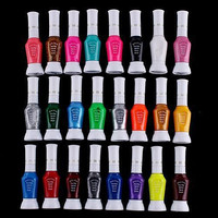 Fashion 24 Colors Pen Brush Colorful Glitter Nail Polish Set Beauty Nail Art Print