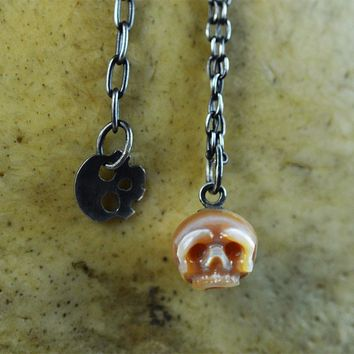Hand Carved Pink Skull Pearl with Skull Charm Adjustable Necklace