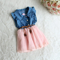 baby girls dress 2015 New fashion Children clothing brand cotton denim dresses kids summer girl sleeveless princess dress HA005