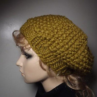 Seed Stitch Beret - Snapdragon Yellow Green