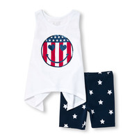 Toddler Girls Americana Sleeveless Embellished Flag Smiley Face Shark-Bite Top And Star Print Bike Shorts Set | The Children's Place