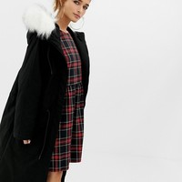 COLLUSION Petite parka jacket with fur lined hood | ASOS