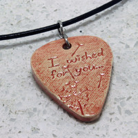 I wished for you Dandelion stamped clay Pick pendant Red Aromatherapy pendant