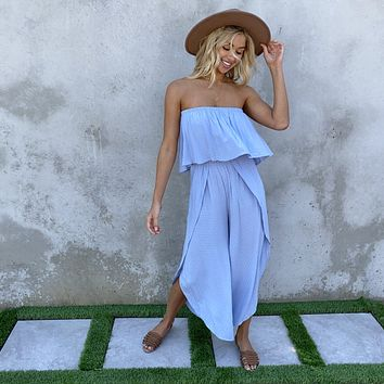 Into Your Arms Baby Blue Strapless Jumpsuit