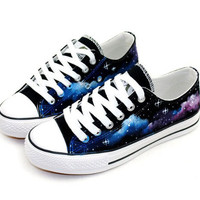 [grdhjr2100033]Hand Drawing Starry Sky Canvas Shoes For Lovers