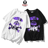 Bape Aape Fashion New Summer Camouflage Letter Print Couple Sports Leisure Top T-Shirt