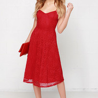 Time of My Life Red Lace Midi Dress