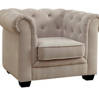 Harper collection beige flannelette fabric upholstered button tufted kids size chair