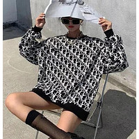 Dior new letter printing round neck loose sweater womens mid-length sweater long sleeve womens jacket