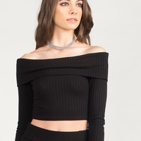 Ribbed Off The Shoulder Cropped Top