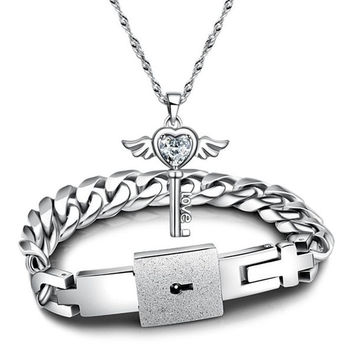 New Fashion Couples Jewelry sets Silver His and Hers White Cubic Zirconia Key Pendant Necklace And Titanium Steel Lock Link Chain Bracelet Bangle,Valentines Gift BY EZMAX (With Thanksgiving&Christmas Gift Box)= 1929818884