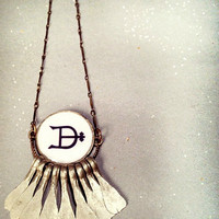 Metal Fringe Pendant Necklace. Handmade Jewelry. Alchemy Symbol Necklace. Antique Tribal Hammered Dangles. Resin Bezel and Brass Chain