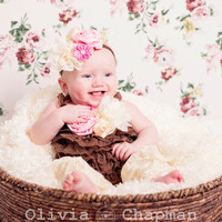 Lace Romper Set,  Baby Lace Romper Set, Petti Lace Romper Set, Brown and Crean Baby Romper Outfit, Photo Prop, Newborn,  Smash Cake Outfit
