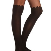 Scalloped Black Tights by Charlotte Russe - Black
