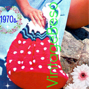 DIGITAL PATTERN • STRAWBERRY Beach Bag Crochet Pattern • Delicious Bag for the Beach or anywhere fun • 1970s Vintage • PdF Pattern • Retro