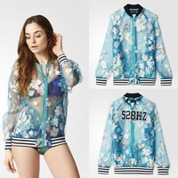 """Adidas"" Female thin Fluoroscopy Flowers Pattern Movement Sunscreen Clothing Coat"