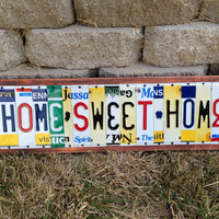 HOME SWEET HOME Custom Recycled License Plate Sign Art