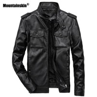 Mountainskin New Men's PU Jackets Motorcycle Coats Stand Collar Outerwear Slim Fit Male Leather Coat Brand Clothing 6XL SA554