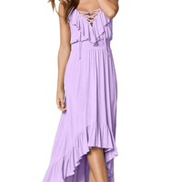 Lilac Lace Up Spaghetti Strap Ruffle Trim Hi-low Maxi Dress